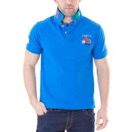 Polo HIP WAY Italia homme MC bleu